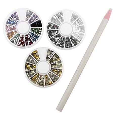 Sinsun-Professional-Manicure-Nail-Art-Decorations-Set-1000-Pcs-Mixed-Colors-Rhinestones-1000pc-Mixed-Sliver-Crystal-Gemstones-240pcs-3D-Gold-And-Silver-Metal-Studs-0
